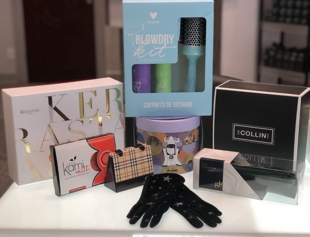 Collection of beautifying gifts in our Montreal salon