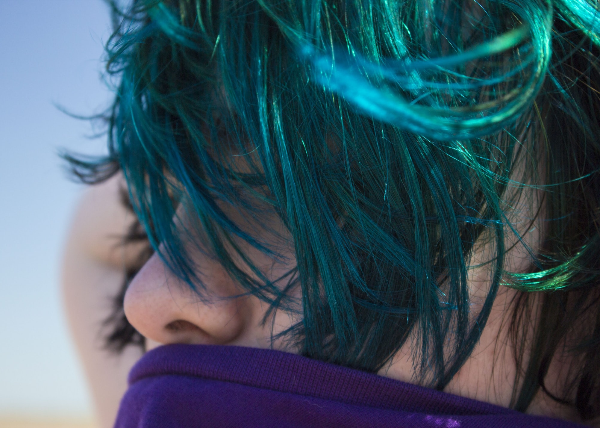 woman with trendy hair color